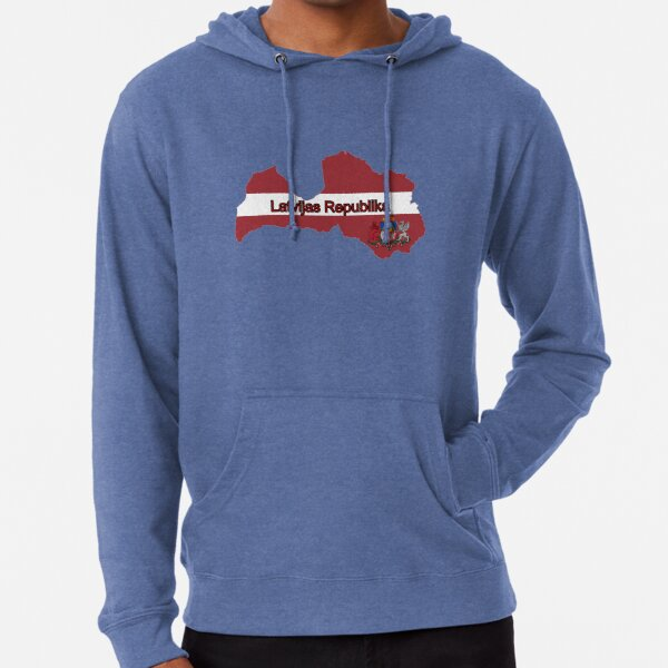 Latvian map and flag colors Lightweight Hoodie