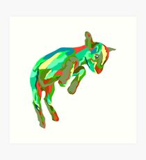Leaping Red n Green Goat Art Print