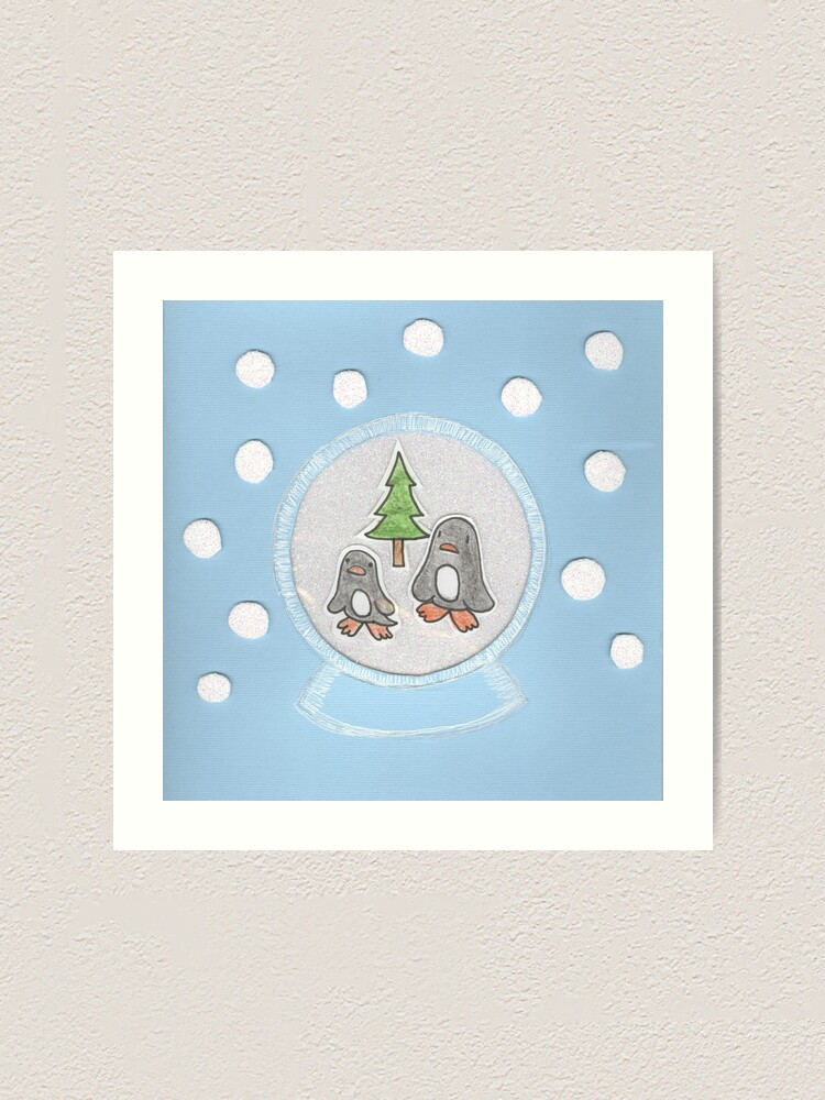 Alternate view of New Year's card with penguins in a glass ball Art Print