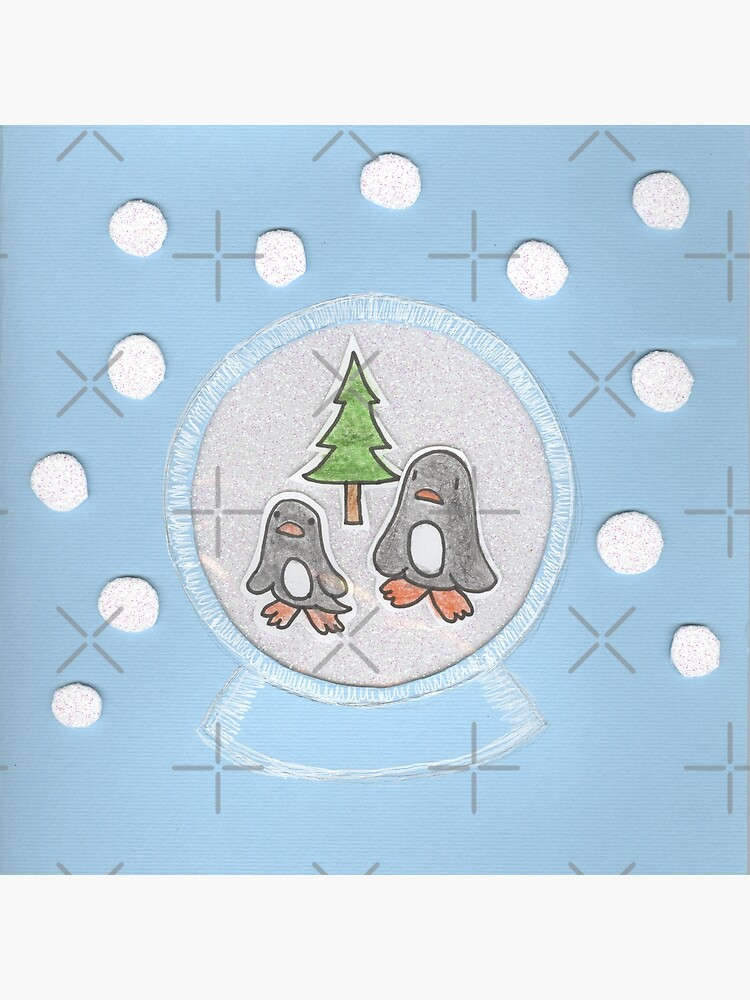 New Year's card with penguins in a glass ball by duxpavlic