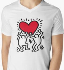 Keith Haring Love Men's V-Neck T-Shirt