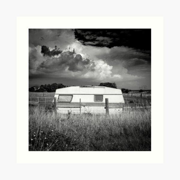 an abandoned caravan in an idyllic pasture Art Print
