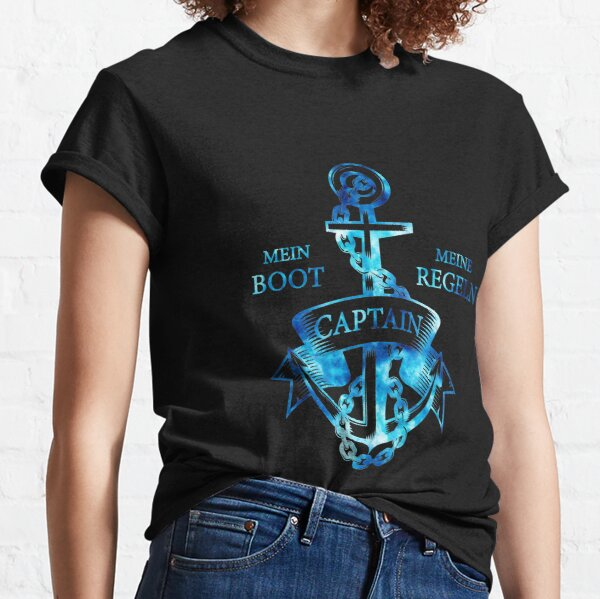 My boat my rules anchor captain motif silhouette design Classic T-Shirt