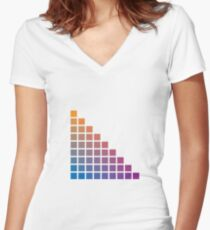 Ombre orange>purple Women's Fitted V-Neck T-Shirt