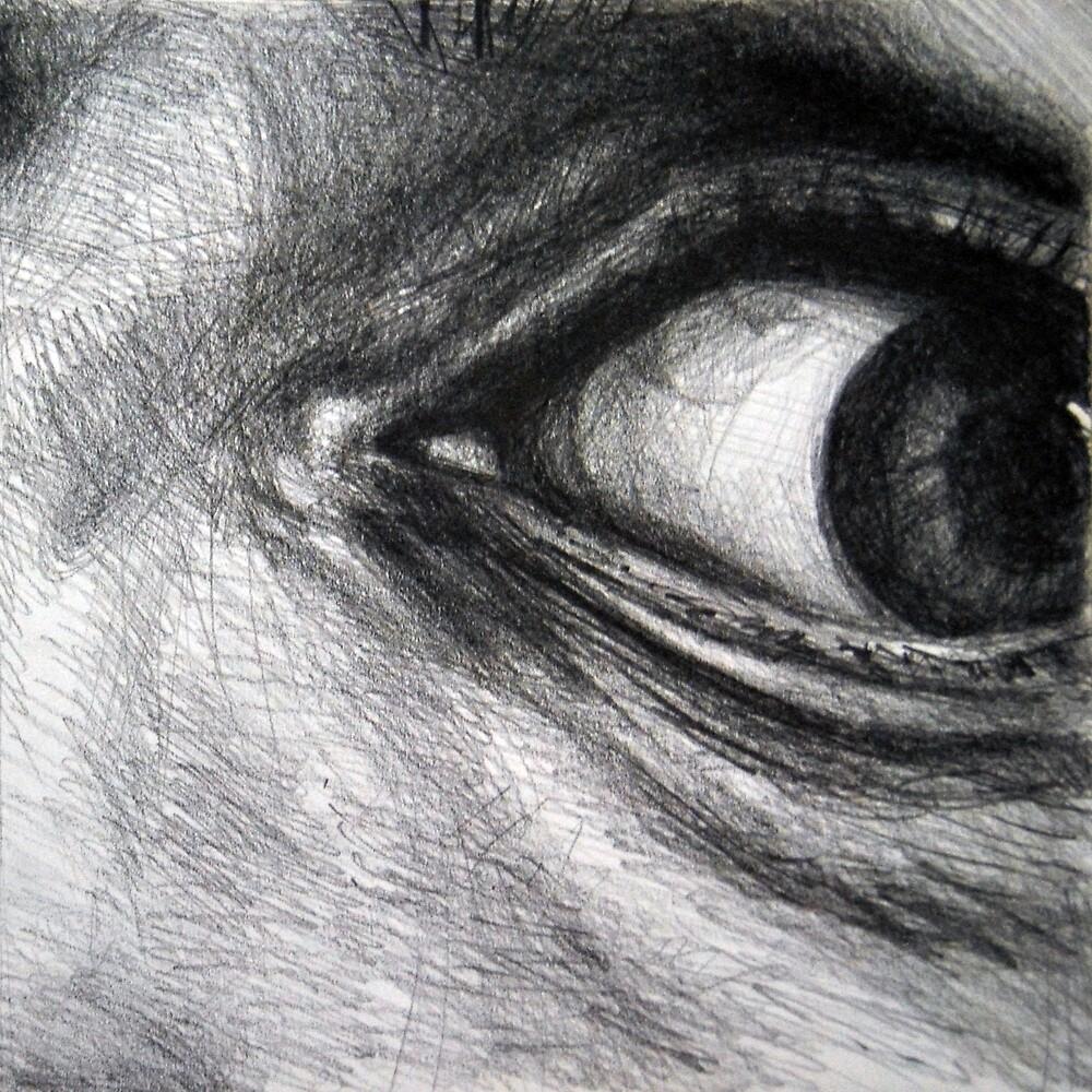 Looking eyes, graphite crayon on paper by oanaunciuleanu