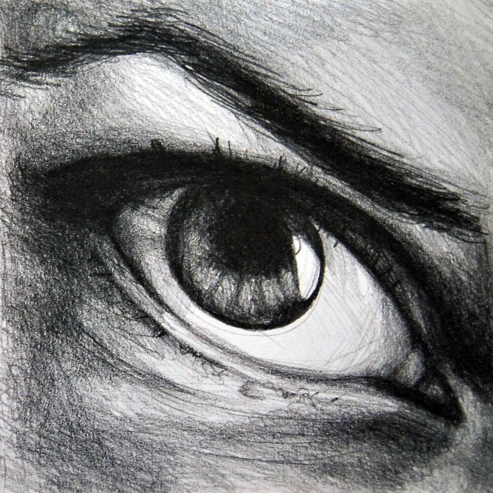 Looking eyes, graphite crayon on paper by oanaunciuleanu