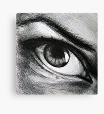 Looking eyes, graphite crayon on paper Canvas Print