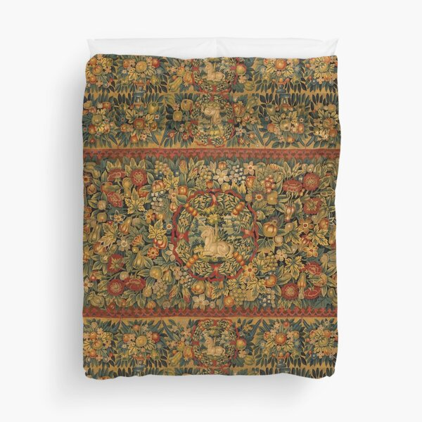 Medieval Unicorn Floral Tapestry Duvet Cover