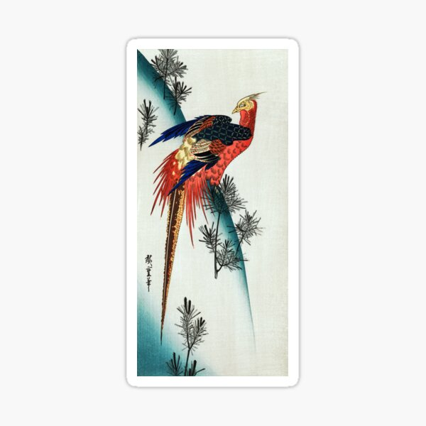Utagawa Hiroshige Pheasant and Pine-trees on Snowy Hillside Sticker