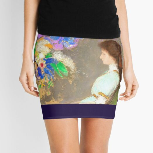 Violette Heymann, Fine Art Painting by Redon  Mini Skirt