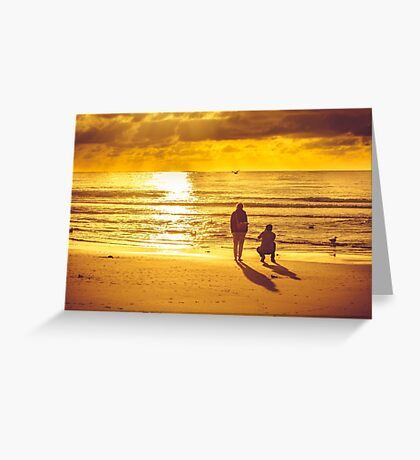 Sunset on beach in Domburg with couple taking pictures Greeting Card