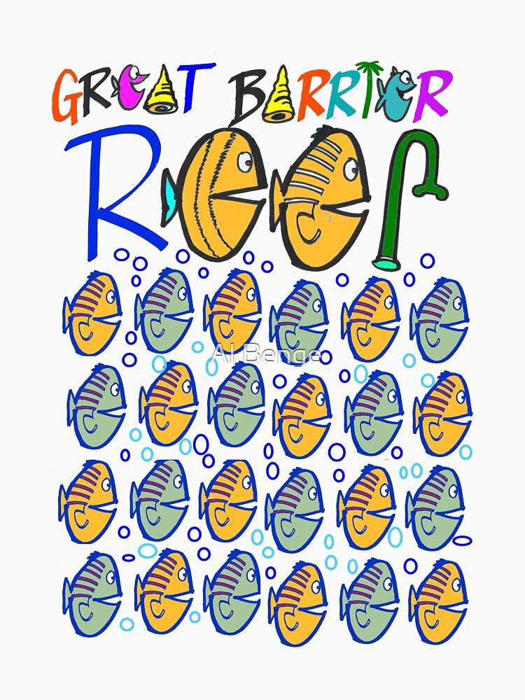 Cartoon fishes on Great Barrier Reef Australia design by MrCreator