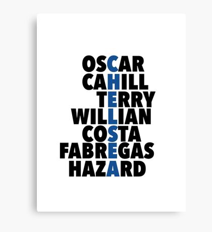 Chelsea spelt using player names Canvas Print