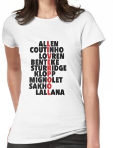 Liverpool spelt using player names Womens Fitted T-Shirt