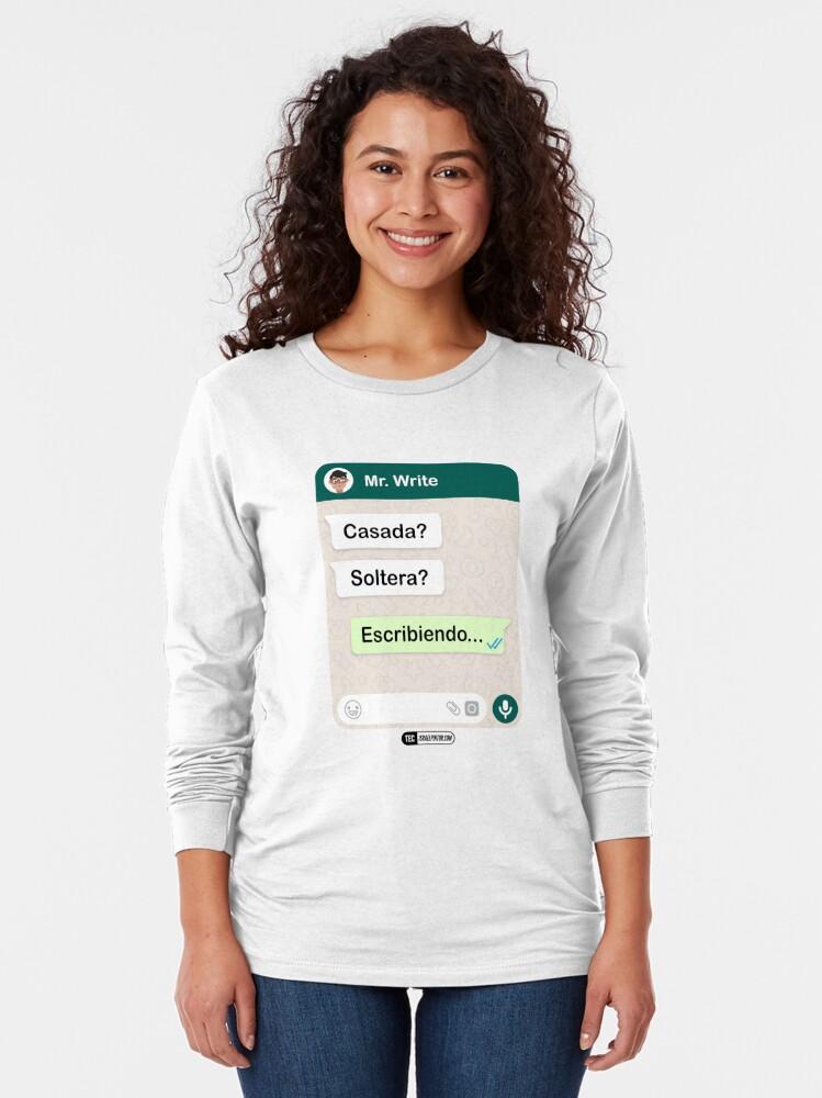 Vista alternativa de Camiseta de manga larga Casada? Soltera? Escribiendo... Para mujeres hetero