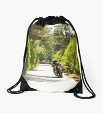 bike on the road Drawstring Bag