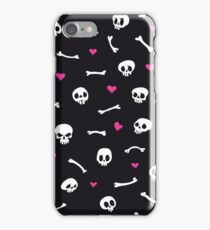 Cartoon Skulls with Hearts on Black Background Seamless Pattern iPhone Case/Skin