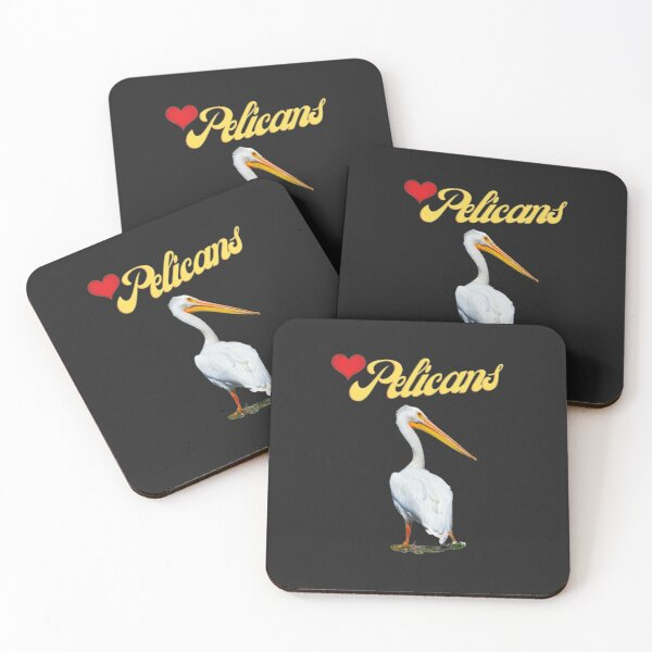 Love Pelicans Beautiful White Bird Photography  Coasters (Set of 4)