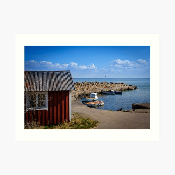 a small, quiet and peaceful fishing port in southern Sweden Art Print