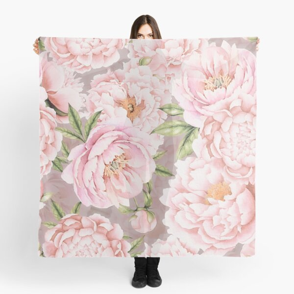 Watercolor Peonies Light Pink Sepia Pattern Scarf