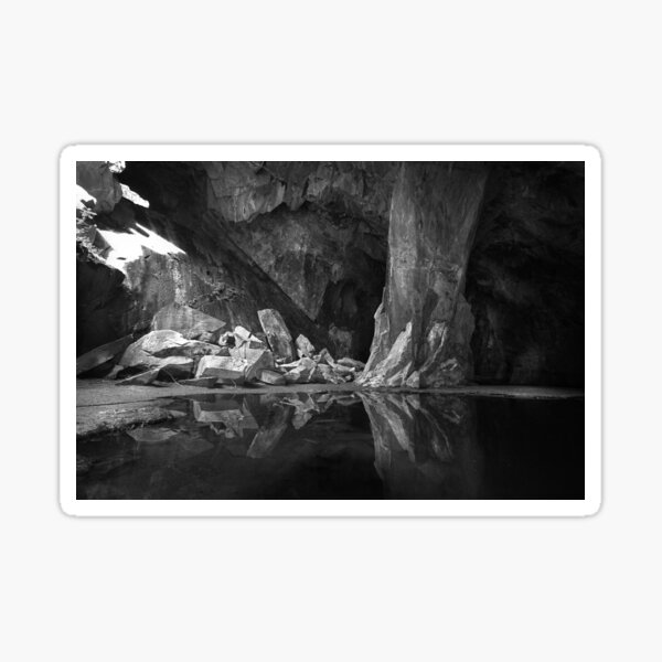 The Black Pool. Cathedral Cave, Little Langdale. English Lake District Sticker