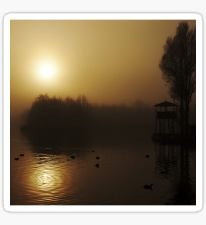 Misty Golden Morning at the Lake 2 Sticker