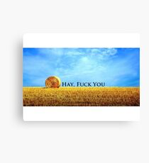 """""""Hay, F*ck You"""" Offensive humour. Canvas Print"""