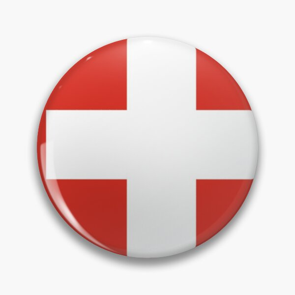 White thick cross on a red background Pin