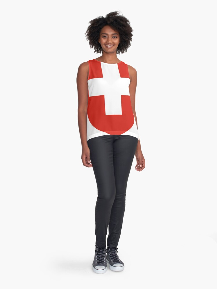 Alternate view of White thick cross on a red background Sleeveless Top