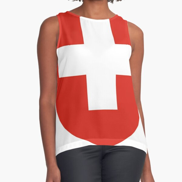 White thick cross on a red background Sleeveless Top