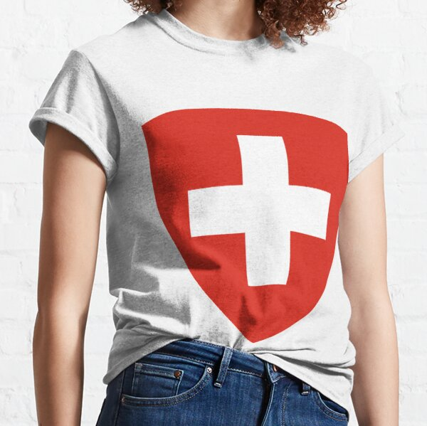White thick cross on a red background Classic T-Shirt