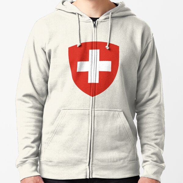 White thick cross on a red background Zipped Hoodie