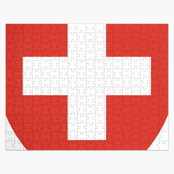 White thick cross on a red background Jigsaw Puzzle