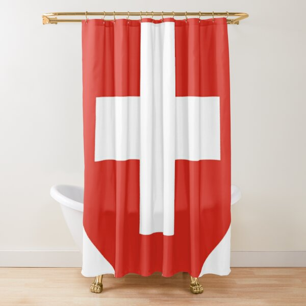 White thick cross on a red background Shower Curtain