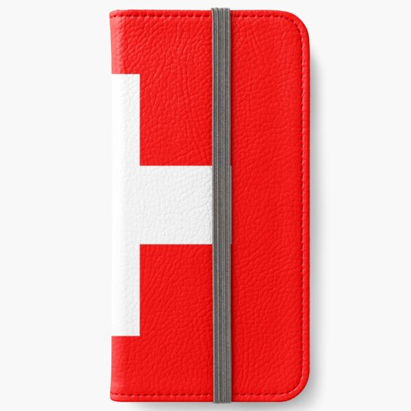 White thick cross on a red background iPhone Wallet