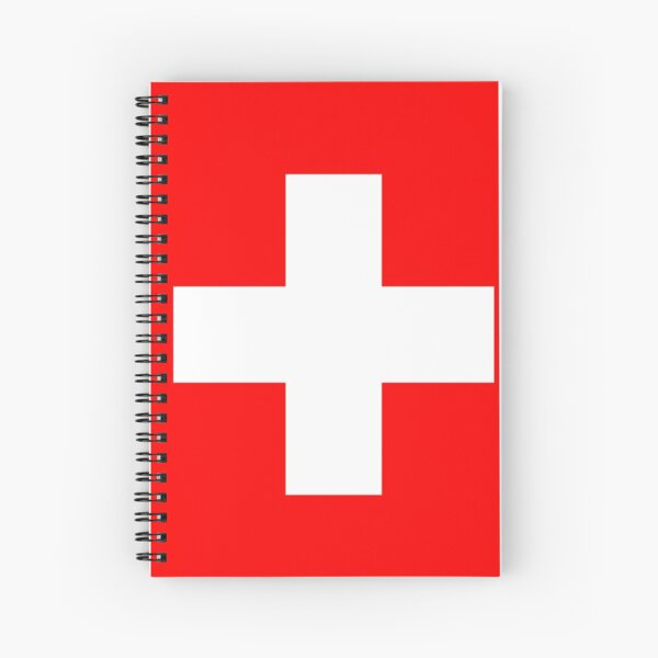 White thick cross on a red background Spiral Notebook