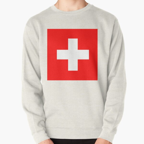 White thick cross on a red background Pullover Sweatshirt