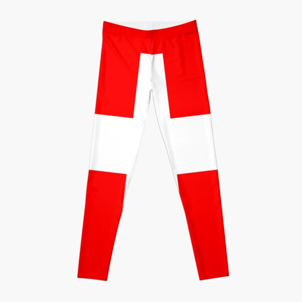 White thick cross on a red background Leggings