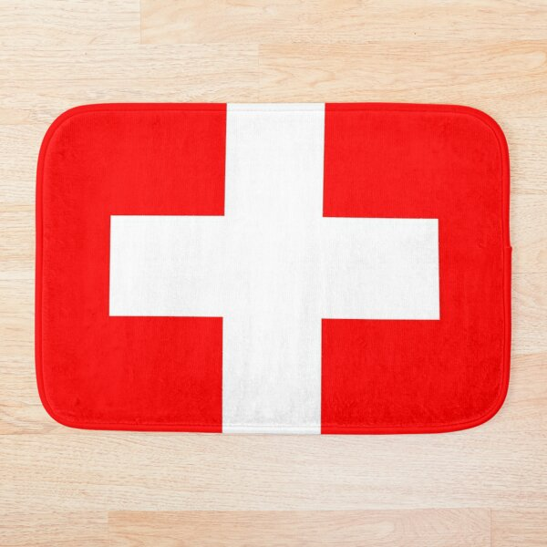 White thick cross on a red background Bath Mat
