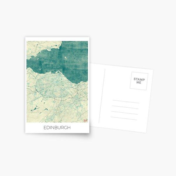 Edinburgh Map Blue Vintage Postcard