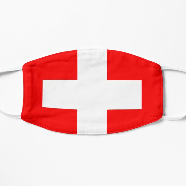 White thick cross on a red background Flat Mask