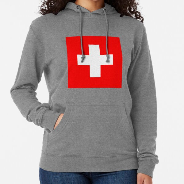 White thick cross on a red background Lightweight Hoodie