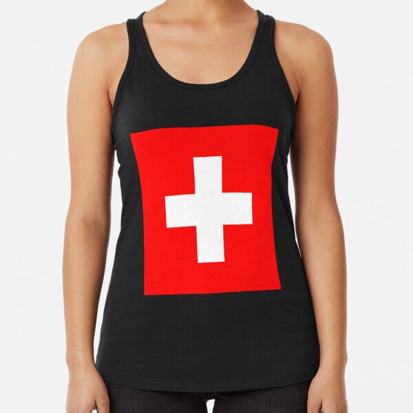 White thick cross on a red background Racerback Tank Top