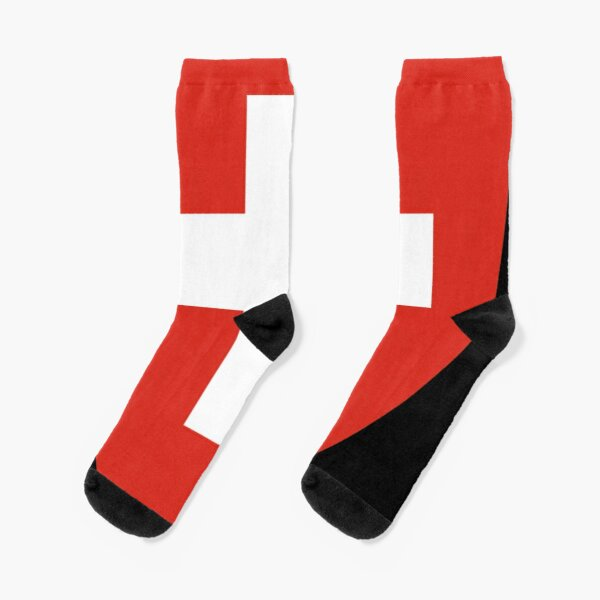 White thick cross on a red background Socks