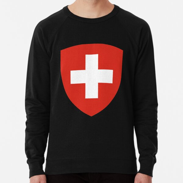 White thick cross on a red background Lightweight Sweatshirt
