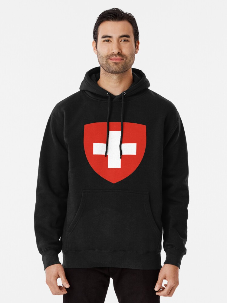 Alternate view of White thick cross on a red background Pullover Hoodie