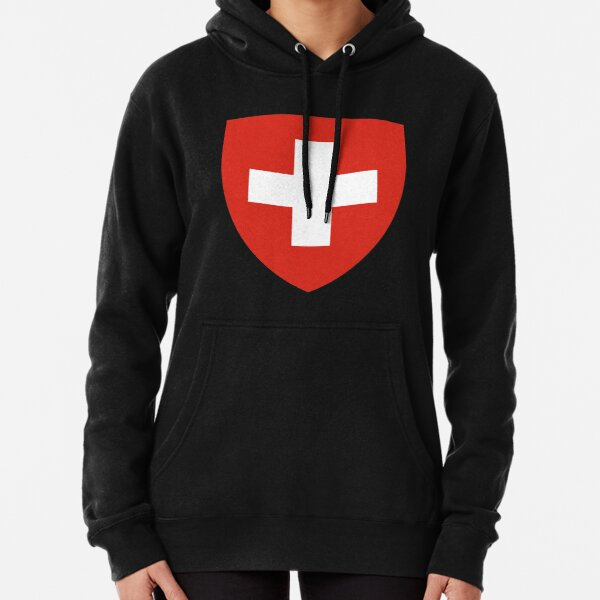 White thick cross on a red background Pullover Hoodie