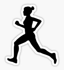 Running Girl B&W Pattern Sticker