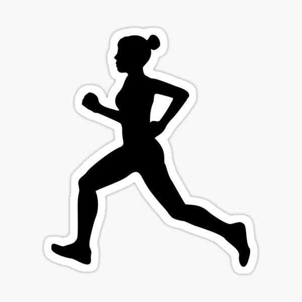 Running Girl B&W Pattern Sticker