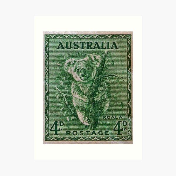 """""""1937 Australia Koala Stamp"""" Art Print"""